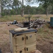 The Rayburn sitting in place at the camp