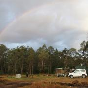 Rainbow over Peace Valley campsite